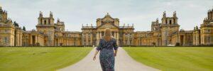 Hannah walking up path to Blenheim Palace