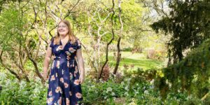 Hannah walking through gardens